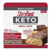SlimFast Keto Meal Replacement Bar, Whipped Peanut Butter Chocolate, 1.48 Oz, 5 Count