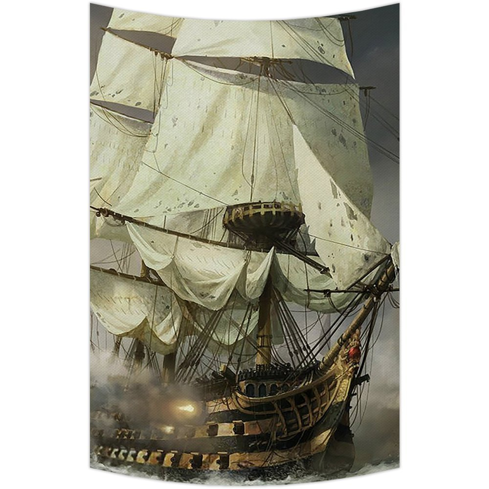 GCKG Cool Pirate Ship Tapestry Wall Hanging,Wall Art, Dorm Decor,Wall Tapestries Size 40x60 inches