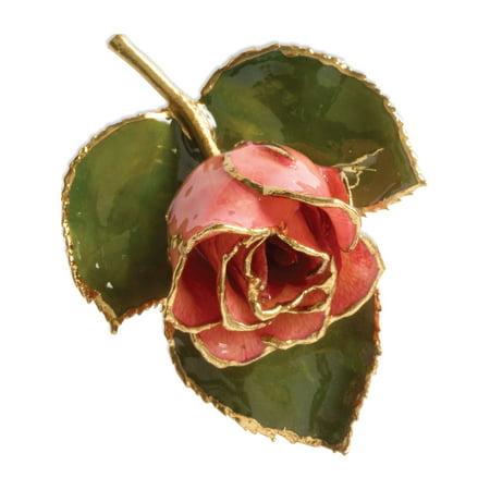 24k Gold Trim Pink Rose Brooch (72x51mm)