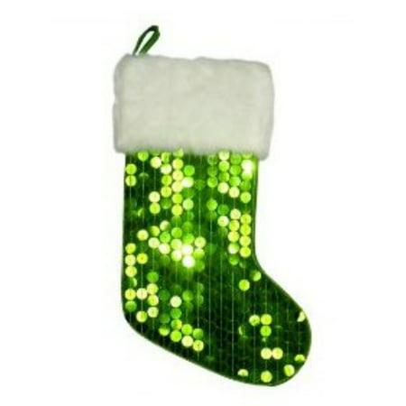 Big Green Sequin Christmas Stocking with Faux Fur Trim (Big Christmas Stockings)