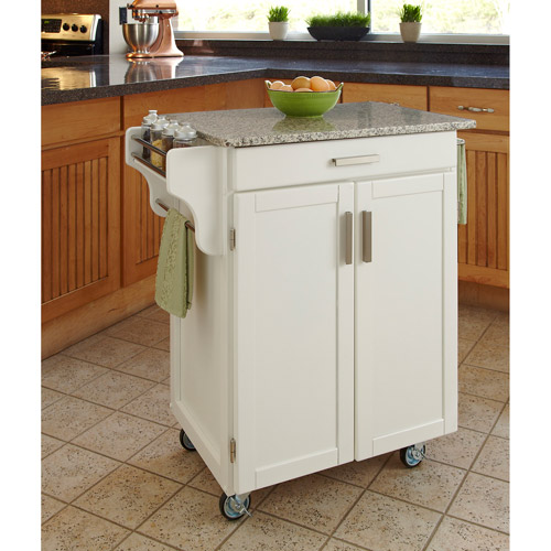 Home Styles Cuisine Kitchen Cart, White with Salt & Pepper Granite Top