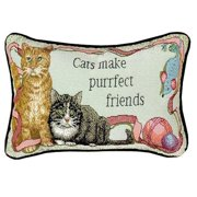 """Manual Woodworkers """"Cats make purrfect friends"""" Decorative Pillow"""