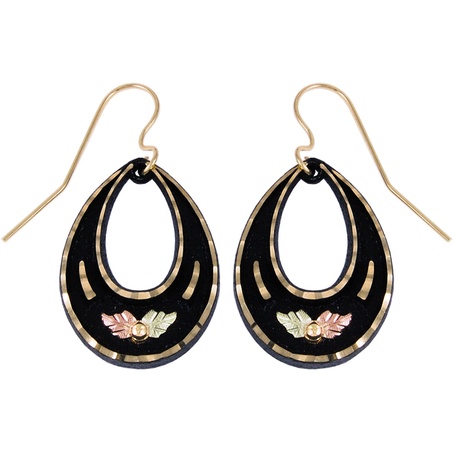 Black Hills Gold 10kt Gold Grape and 12kt Gold Leaf Accents Teardrop Earrings