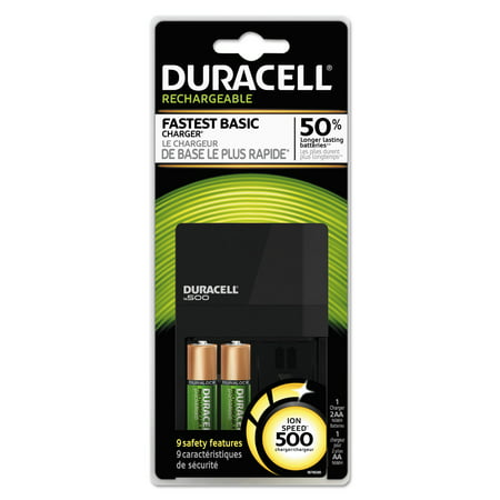 Duracell ION SPEED 500 Starter Kit Charger, Includes 2 AA NiMH Batteries