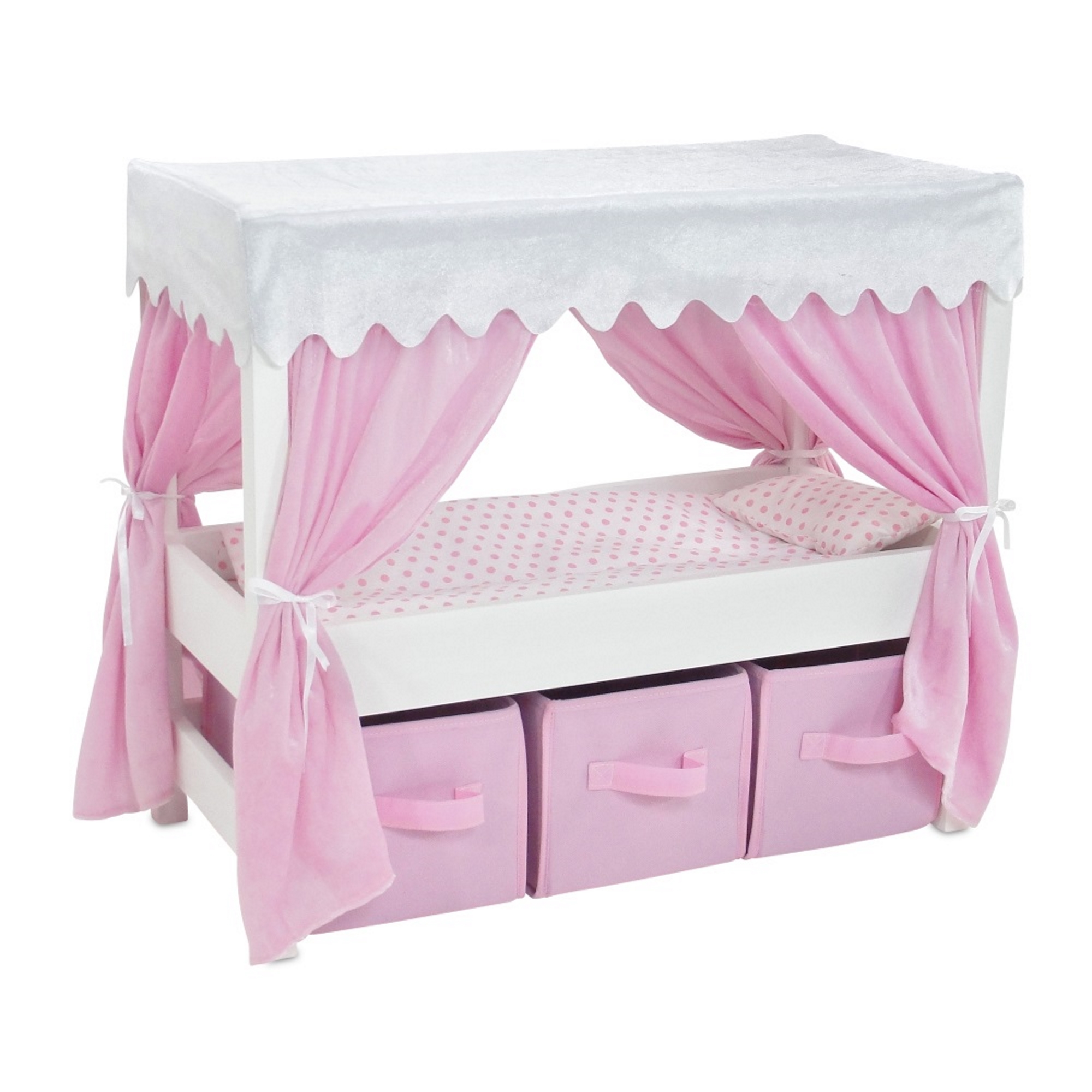 18 Inch Doll Furniture | Lovely Pink and White Canopy Bed with 3 Storage Bins for Doll Clothes, Includes Pink... by Emily Rose Doll Clothes
