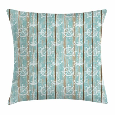 Nautical Throw Pillow Cushion Cover, Marine Elements Drawn on Old Wood Surface Helm Anchor Ornamental Print, Decorative Square Accent Pillow Case, 18 X 18 Inches, Turquoise Cocoa White, by Ambesonne