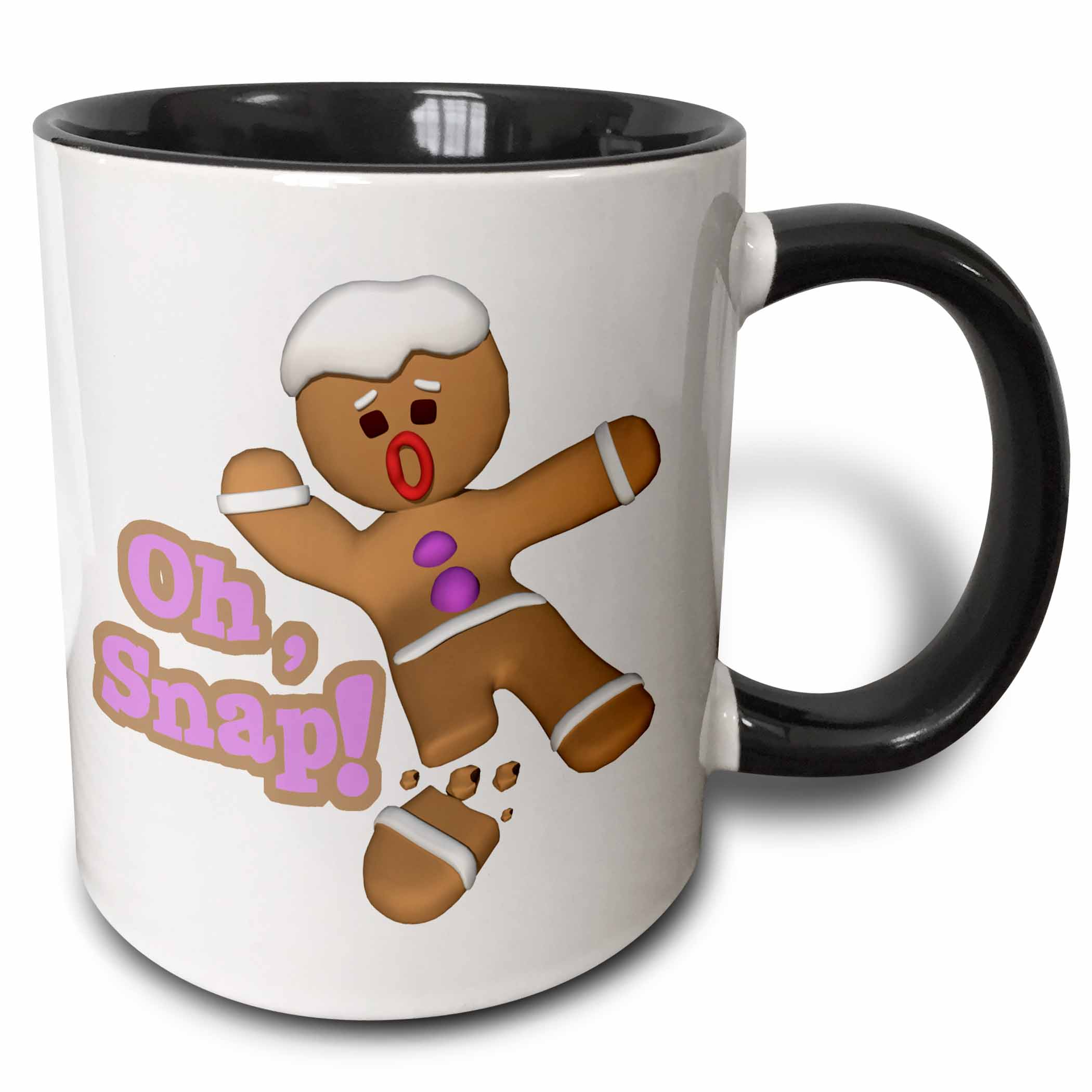 3dRose Funny Oh Snap Broken Snapped Gingerbread Man Cookie Holiday Christmas Humor - Two Tone Black Mug, 11-ounce