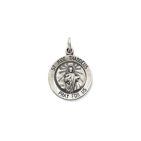 925 Sterling Silver St  Jude Thaddeus Medal Charm Pendant   20Mm