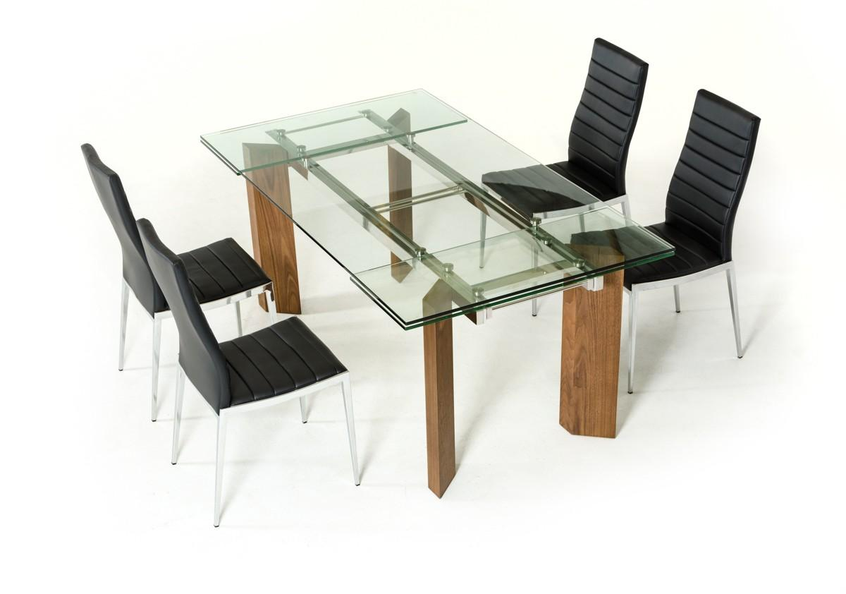 Genial Modern Extendable Glass Dining Table Set 7 Pcs Contemporary VIG Modrest  Helena
