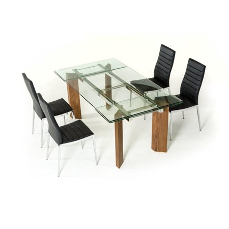Modern Extendable Gl Dining Table Set 7 Pcs Contemporary