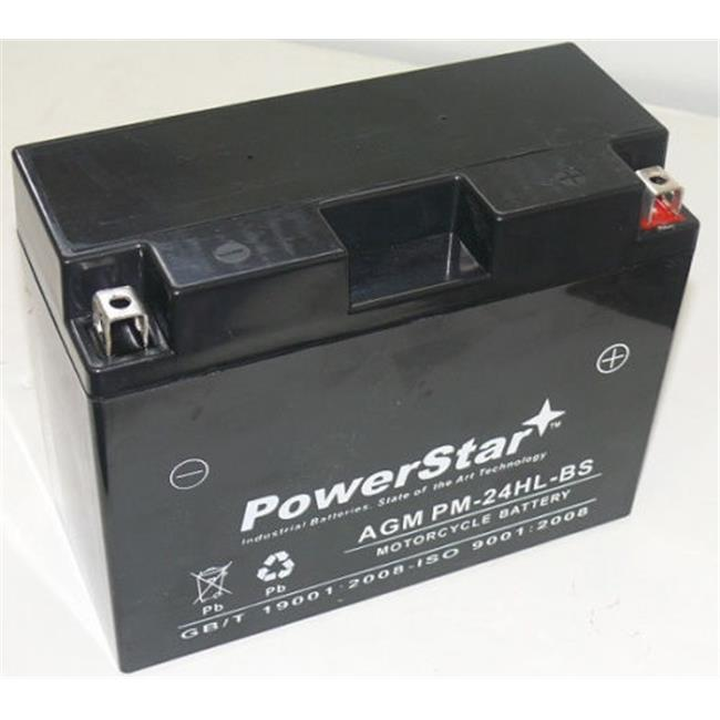 PowerStar PM-24HL-BS-F120020D1 Battery Plus Charger Ytx24Hl-Bs Motorcycle Battery - 2 Year Warranty