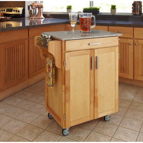 Home Styles Cuisine Kitchen Cart, Natural with Salt & Pepper Granite Top