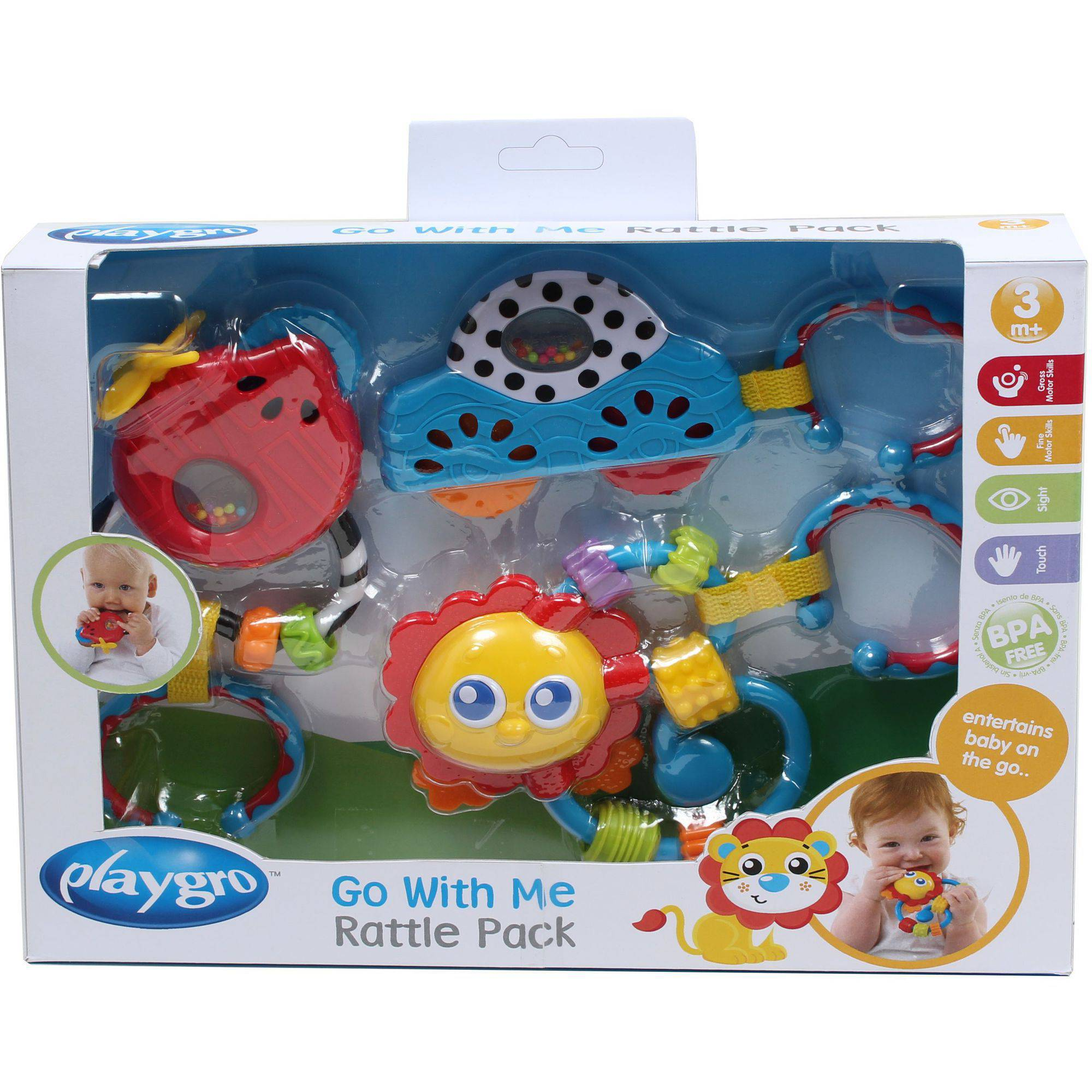 Playgro Go With Me Rattle Pack Boy, 3 Pieces
