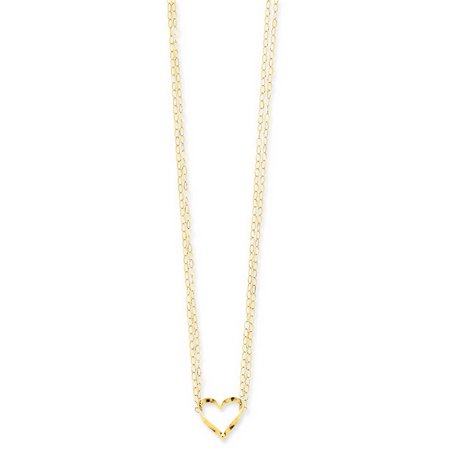 14k Yellow Gold 16in Adjustable Double Strand Heart (Heated 16in Strand)