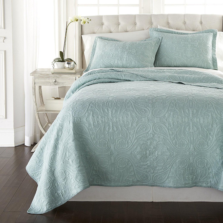 Chezmoi Collection Melissa 3-piece Paisley Floral Soft-Washed 100% Cotton Quilt Set