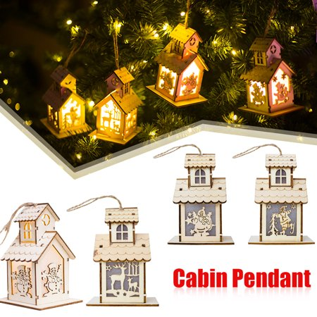 christmas decoration small wooden house shape ornament with led night christmas tree pendant window decoration walmartcom - Wooden Led Christmas Decoration