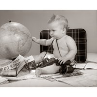 1960s Baby Seated Looking At Globe With Camera Binoculars Suitcase And Travel Brochures Print By Vintage Collection