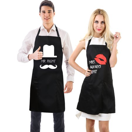 Uarter 2Pcs Couple Apron Set Cotton Couples Kitchen Aprons Adjustable Couple Apron Gift with 2 Pockets, Mr. Right & Mrs.Perfect Gift for Valentine's Day, Wedding Day, Anniversary and Birthday