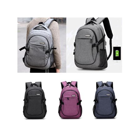 Chic Men Women USB Charging Backpack Male Leisure Travel Business Student School Bag ()