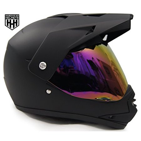 HHH DOT Youth & Kids Helmet for Dirtbike ATV Motocross MX Offroad Motorcyle Street bike Snowmobile Helmet with VISOR (Medium, Matte Black)