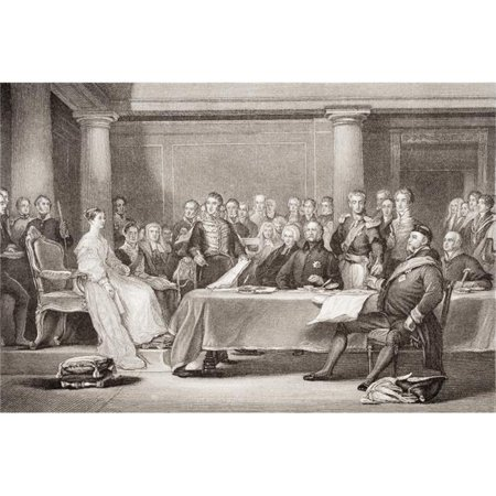 Victorias First Council. Kensington Palace 21 June 1837 Engraved by F Fraenkel Poster Print, Large - 36 x 24