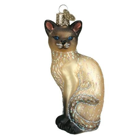 Siamese Cat Glass Ornament - Tan