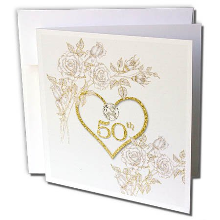 3dRose 50th Golden Wedding Anniversary in Faux Gold Glitter Heart on White - Greeting Cards, 6 by 6-inches, set of 12
