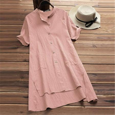 Women Long Shirt Dress Oversize Asymmetrical Tops Blouse Cotton Mini Dress Plus Cotton Long Top Dress
