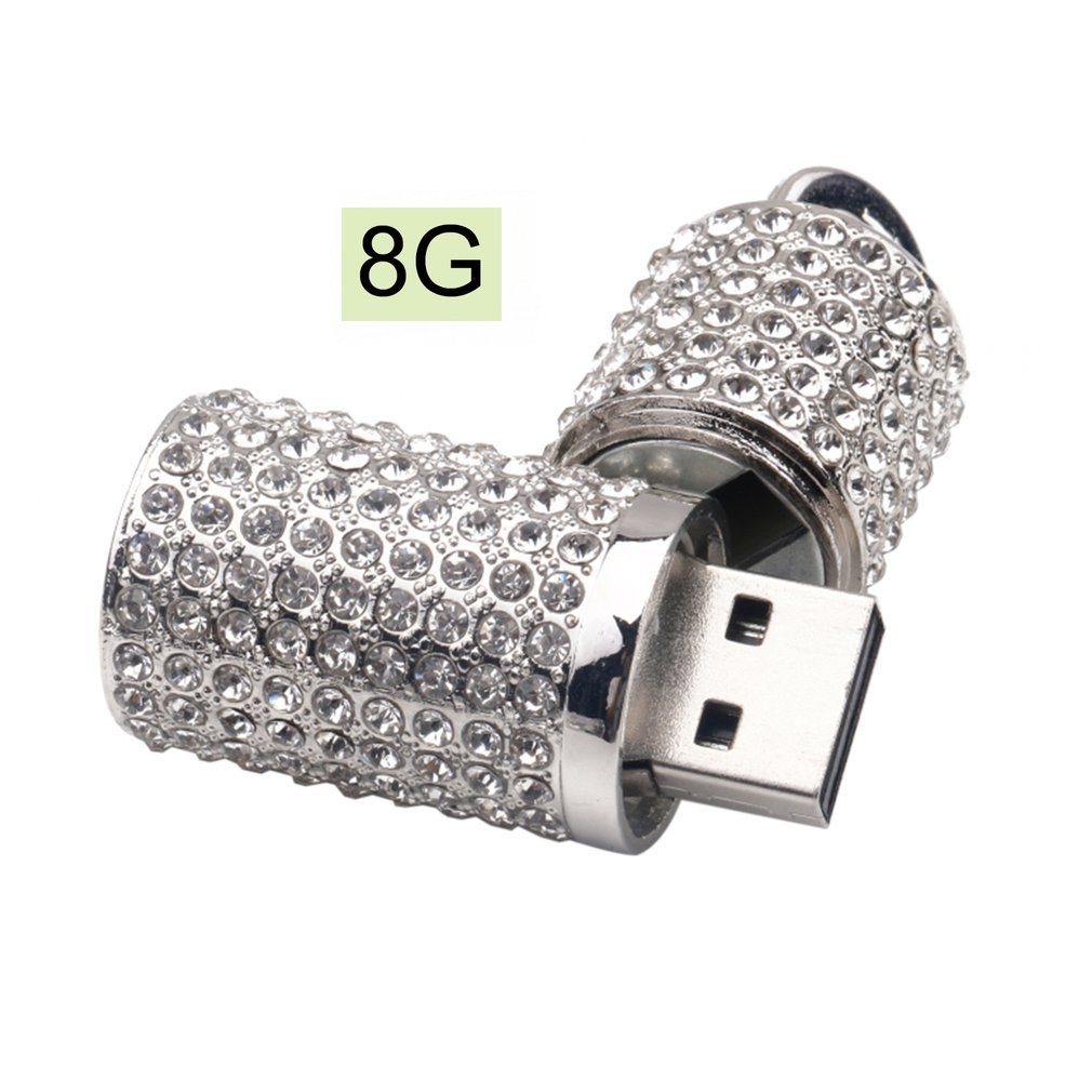 Fashion USB2.0 Crystal Inlaid U-Disk Round USB Flash Drive Mini Portable Metal Pen Drive USB Stick For Computer Laptop