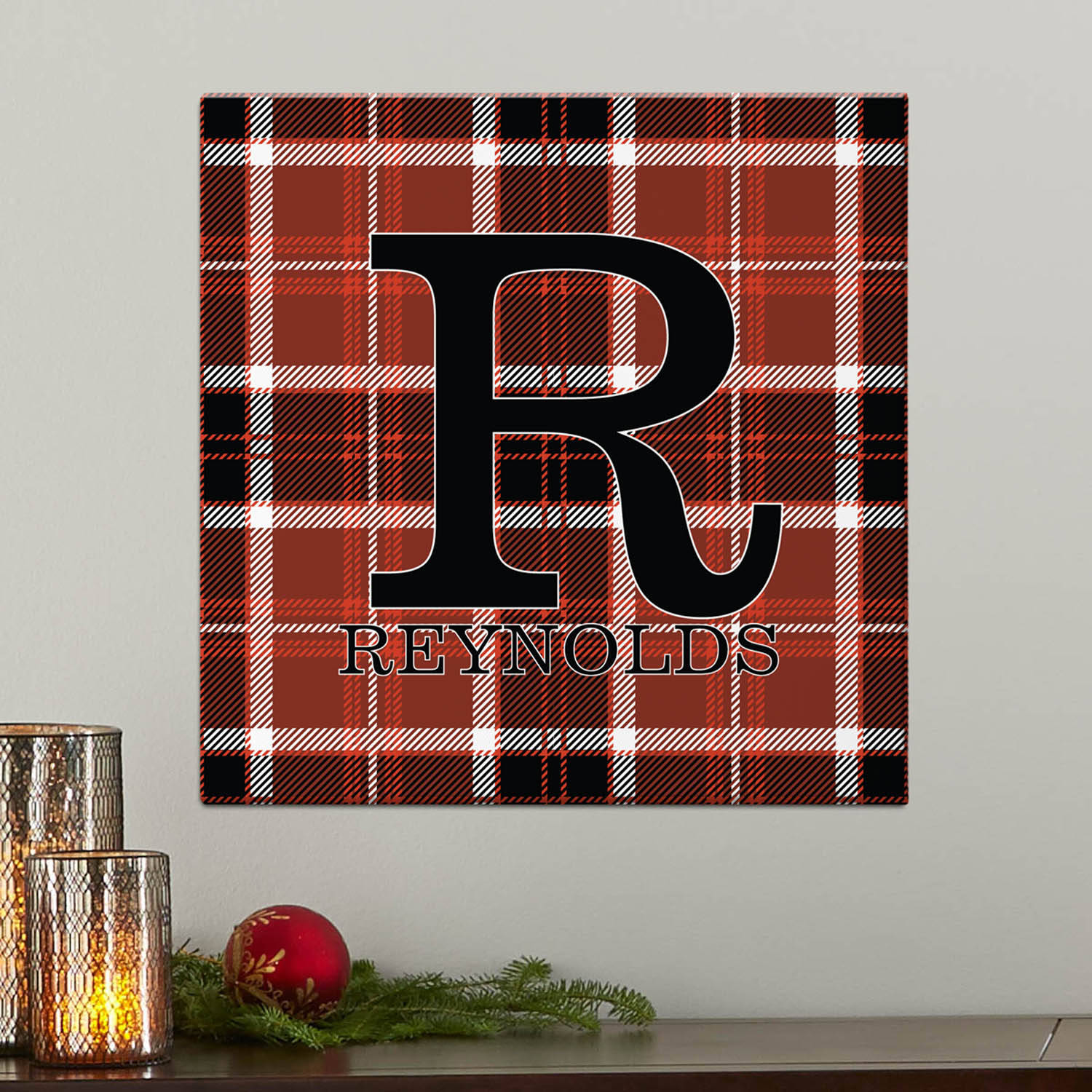 Personalized Plaid Name Canvas