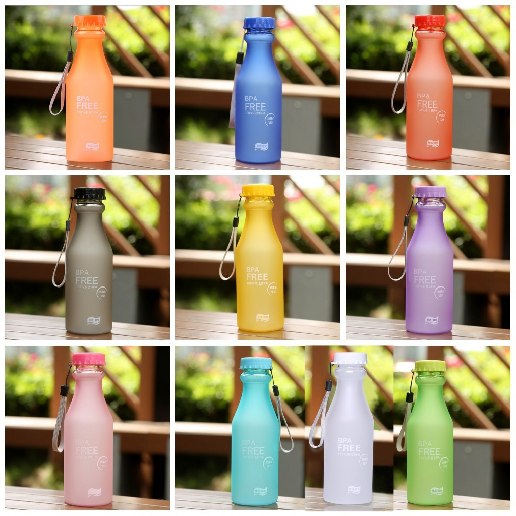 Colorful Sport Travel Unbreakable Portable Leak-proof Water Bottle Camping Cup S