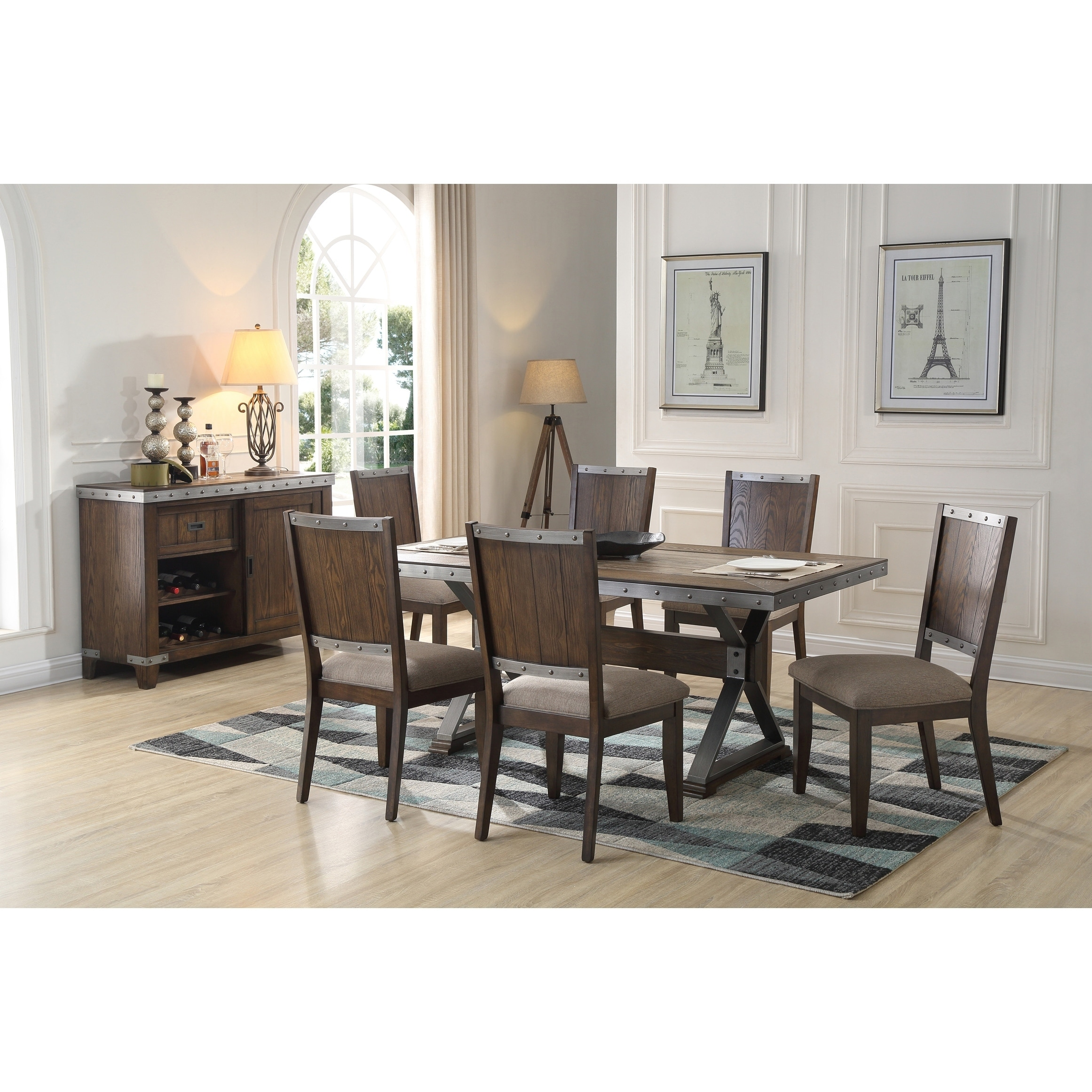 Delightful Best Master Furniture Dark Oak 7 Piece Rectangular Dining Set
