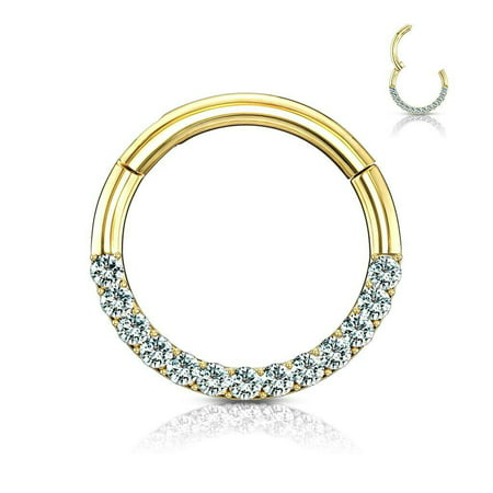 Hinged Hoop Rings for Nose Septum, Daith and More 14Kt Gold CZ Paved 16g