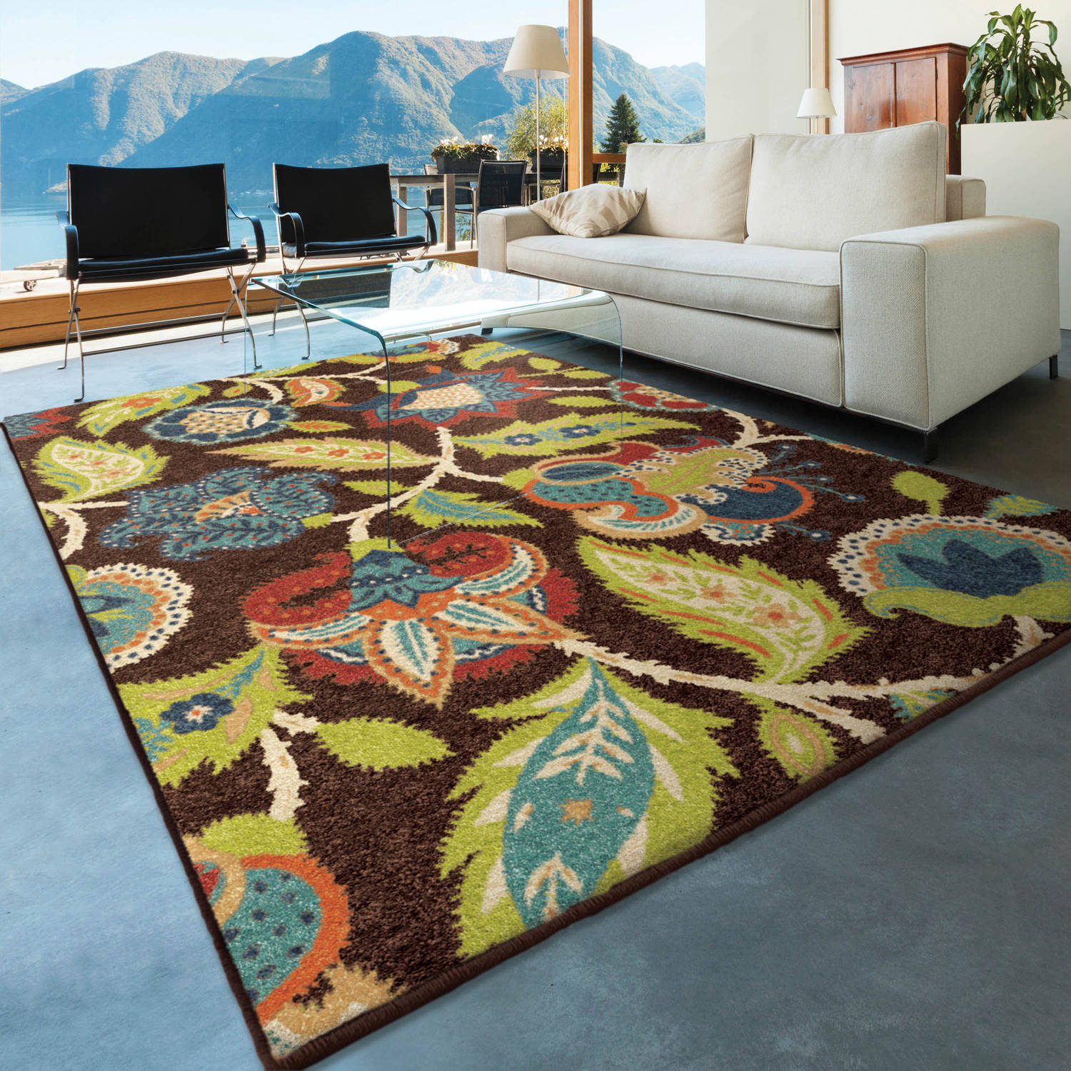 Orian Rugs Indoor Outdoor Basil Brown Area Rug Walmart