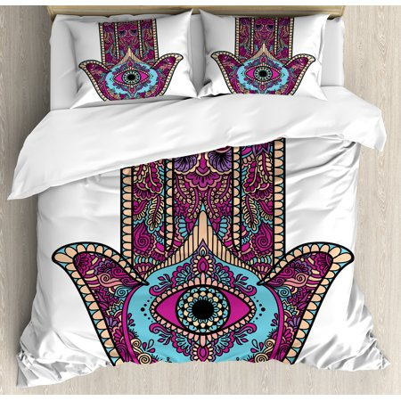 - Hamsa Duvet Cover Set, Doodle Zentangle Style Bohemian Old Fashioned Floral Swirls All Seeing Eye, Decorative Bedding Set with Pillow Shams, Magenta Aqua Peach, by Ambesonne