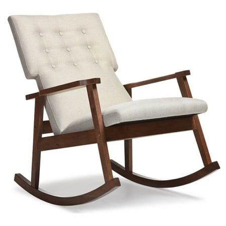 Sensational Baxton Studio Agatha Mid Century Modern Light Beige Fabric Upholstered Button Tufted Rocking Chair Alphanode Cool Chair Designs And Ideas Alphanodeonline