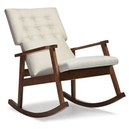 Baxton Studio Agatha Mid Century Modern Light Beige Fabric Upholstered  Button Tufted Rocking Chair