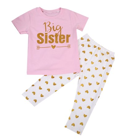 Newborn Kids Baby Girls Matching Sister Romper Shirt Tops+Pants Outfit Clothing Set (Sister Sam Girls Clothing)
