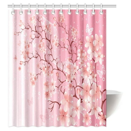 MYPOP House Decor Shower Curtain, Cherry Blossom Springtime Sakura ...