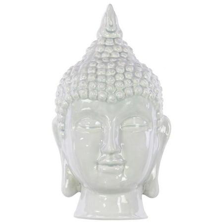 Ceramic Buddha Head With Pointed Ushnisha - Light Gray