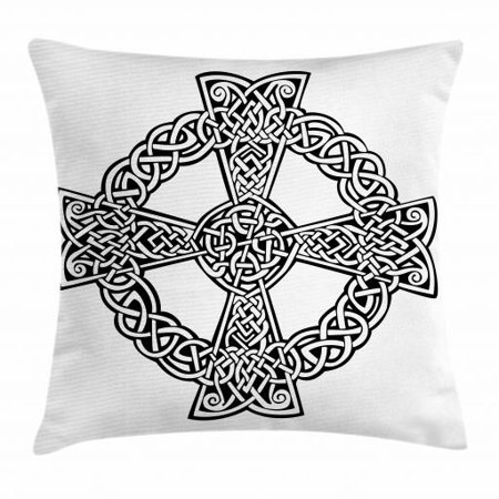 Celtic Throw Pillow Cushion Cover, Celtic Traditional Culture Spiritual Symbol in Abstract Braided Knots Design, Decorative Square Accent Pillow Case, 18 X 18 Inches, Black and White, by - Traditional Celtic Design