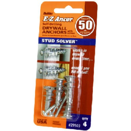 Stud Solver Drywall Anchors, Self-Drilling, Plastic, #50, 4-Pk.