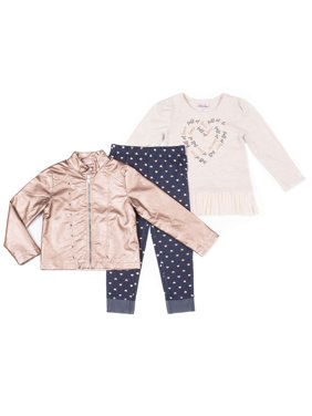 Little Lass Metallic Faux Leather Jacket, Ruffle Tulle Top & Printed Denim Leggings, 3pc Outfit Set (Toddler Girls)