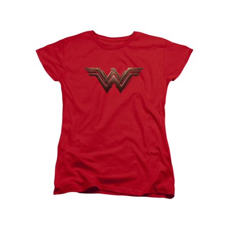 Womens: Wonder Woman Movie - Logo Ladies T-Shirt Size S](Wonder Woman Shirt With Cape)