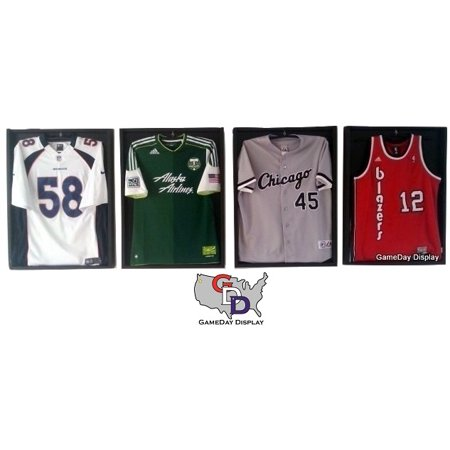 Lot of 4 All Black Jersey Display Case Frame Standard Size Football ...