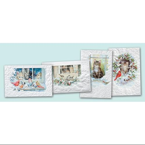 Pack of 20 Assorted Cats In Windows Fine Art Embossed Christmas Greeting Cards