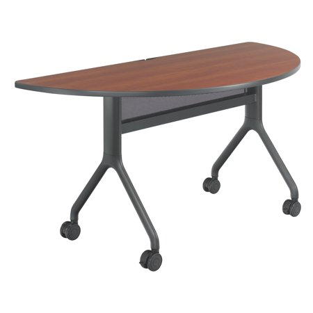 2035cybl Rumba Office Furniture 60 Inch X 30 Cherry Top With Black Base Half Round