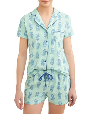 979834708b7ef Product Image JV Apparel Women's and Women's Plus Knit 2-Piece Short Sleep  Set with Collar