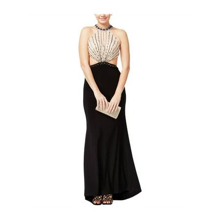 Jump Apparel Womens Beaded A-line Dress blacknude 11/12 - Juniors