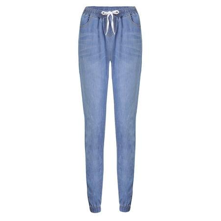 Plus Size Women Denim Jeans Mid Waist Stretchy Slim Fit Drawstring Elastic Trouser Pants Ladies Casual Joggings Leggings